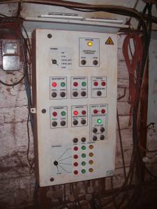 Control cabinet of dosing, horizon -1318 m., Zarya mine, Krivoj Rog's Iron-Ore Combine